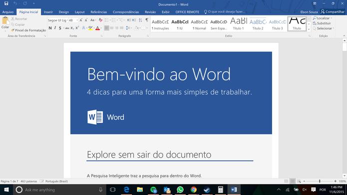Word, PowerPoint, Excel e OneNote estão disponíveis em qualquer pacote do Office (Foto: Reprodução/Elson de Souza) (Foto: Word, PowerPoint, Excel e OneNote estão disponíveis em qualquer pacote do Office (Foto: Reprodução/Elson de Souza))