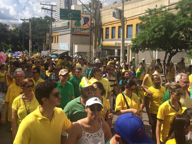 Manifestantes caminham pelas ruas de Goiânia em ato contra o governo Dilma, Goiás (Foto: Murillo Velasco/G1)