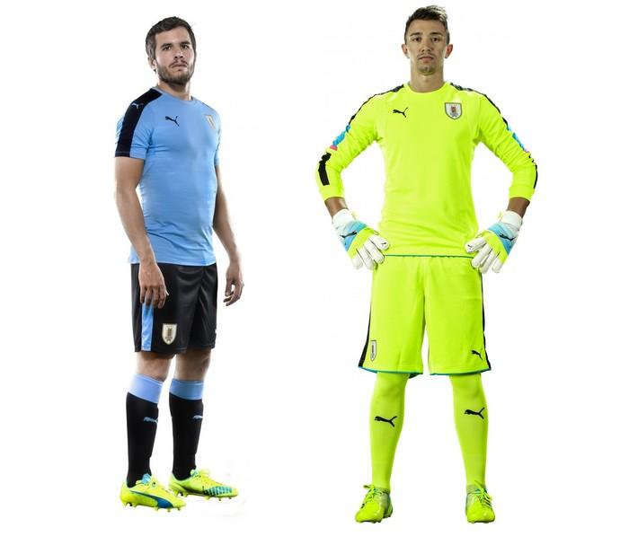 Alvaro Gonzalez e Muslera novo uniforme seleção Uruguai (Foto  Divulgação  Puma) a45f658443115