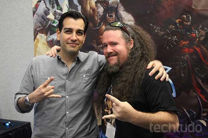 Alan Dabiri (esquerda) Samwise Didier (direita), designer de Cho'Gall para Heroes of the Storm (Foto: Felipe Vinha/TechTudo)