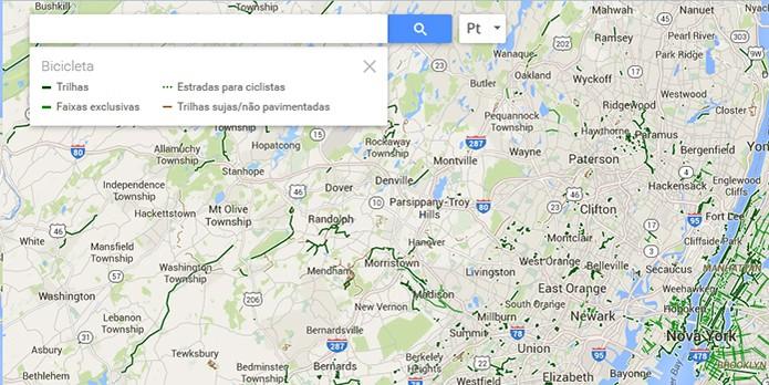 Informações de percurso com bicicleta pelo Google Maps (Foto: Reprodução/Barbara Mannara)
