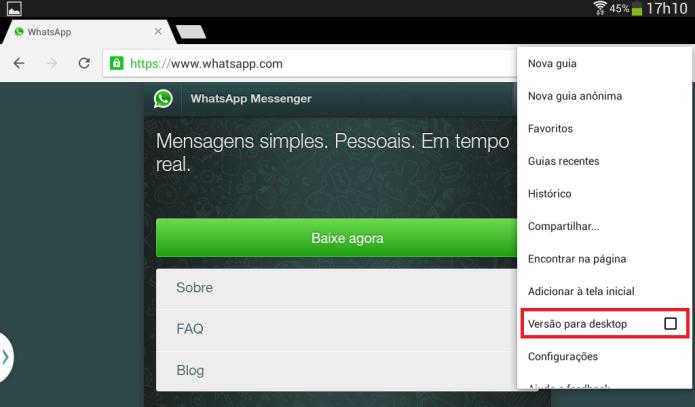 Ativando o WhatsApp Web no celular (Foto: Reprodução/Lívia Dâmaso)