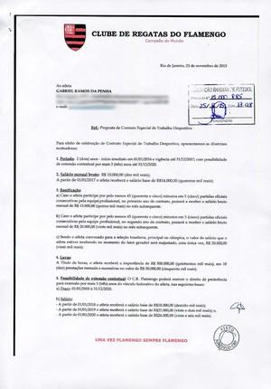 Documento Flamengo Gabriel (Foto: Editoria de arte)