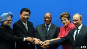 Chefes de Estado e governo dos Brics durante a cúpula de Durban (Foto: AFP)