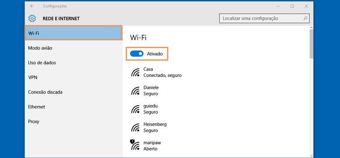 Ative o Wi-Fi pelas configurações do notebook (Foto: Reprodução/Barbara Mannara)