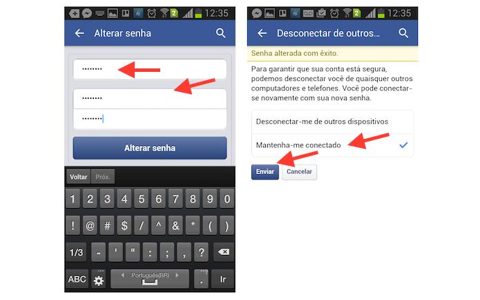 Alterando a senha do Facebook pelo Android (Foto: Reprodução/Marvin Costa)