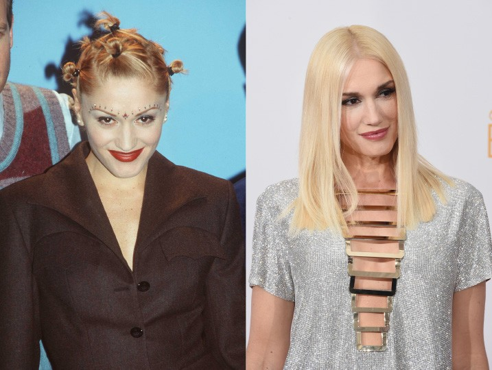 Em 1997, a líder do No Doubt possuía 28 anos e o cabelo um pouco estranho. Neste ano, a cantora fez 45 e diminuiu o uso dos acessórios. (Foto: Getty Images)