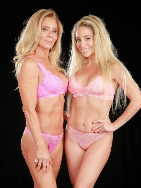 Danielle Winits e a mãe, Nadja em uma campanha publicitária para marca de lingerie (Foto: :Márcio Freitas)