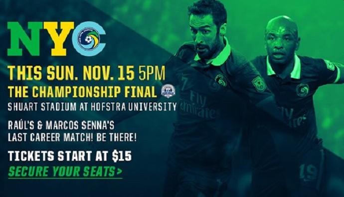 Propaganda ingressos final NASL New York Cosmos despedida Raúl e Marcos Senna (Foto: Reprodução Twitter)