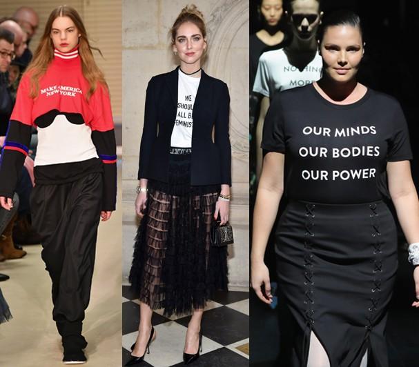Quem usa: Public School e Prabal Gurung apostaram nas t-shirts empoderadoras! Antenada, a blogueira Chiara Ferragni foi uma das primeiras a aderir. (Foto: Getty Images)