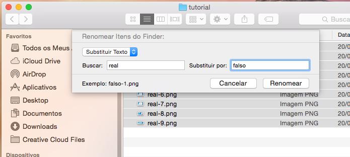 Usando a opção de substituir um texto para renomear os arquivos (Foto: Reprodução/Edivaldo Brito)