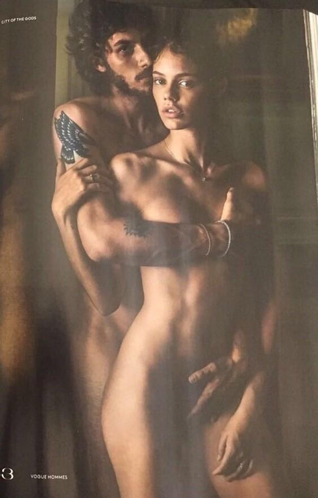 Chay Suede e Laura Neiva na Vogue Hommes (Foto: Reprodução)