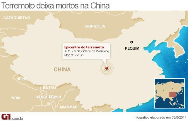 mapa terremoto china - vale este (Foto: Arte/G1)