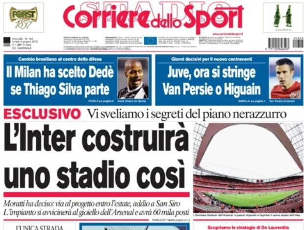 Manchete do Corriere dello Sport aponta interesse do Milan em Dedé (Foto: Reprodução)