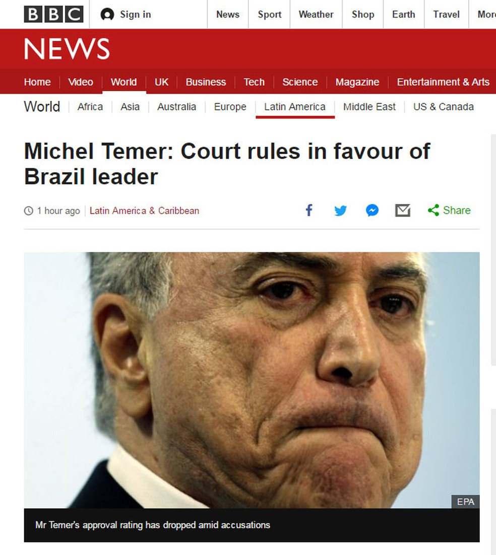 Rede britânica BBC noticia decisão favorável ao presidente Michel Temer tomada pelo TSE nesta sexta-feira (9) (Foto: Reprodução/ BBC)