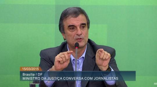 O irritado: José Eduardo Cardozo, ministro da Justiça (Foto: Reprodução / YouTube)