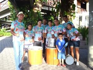 A bateria Império São Vicente faz participação no programa (Foto: Bruna Alves/G1)