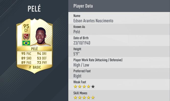 Fifa 17: Pelé manteve suas cinco estrelas de finta (Foto: Divulgação/EA)