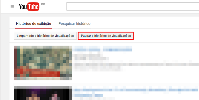 Pause e retome a gravação do histórico do YouTube quando quiser (Foto: Reprodução/Paulo Alves)