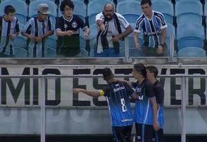 Grêmio x São José Gauchão Maicon torcedor (Foto: Reprodução / Premiere)