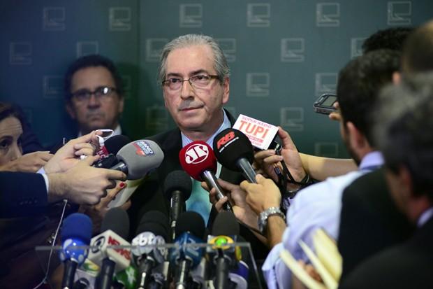 O presidente da Câmara, deputado Eduardo Cunha (PMDB-RJ), durante entrevista coletiva no Salão Verde (Foto: Gustavo Lima/Câmara dos Deputados)