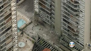 Explosão de prédio em São Conrado (Foto: Reprodução / TV Globo / Bom dia Rio)