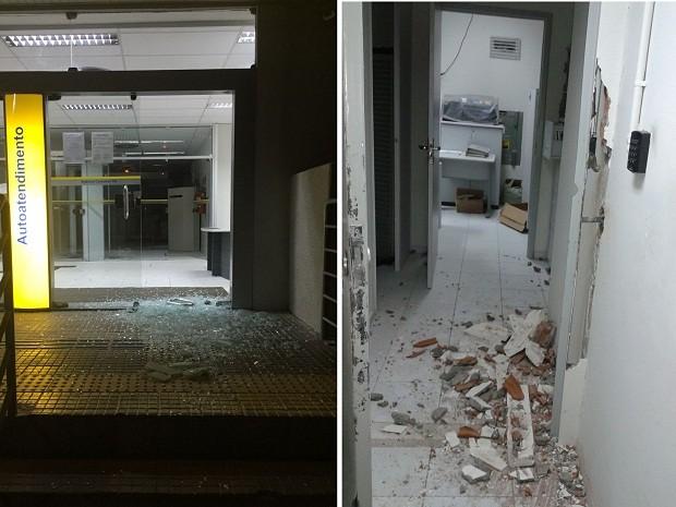 Agência é alvo de criminosos na madrugada desta quarta-feira (7) em Caraúbas (Foto: Divulgação/PM)
