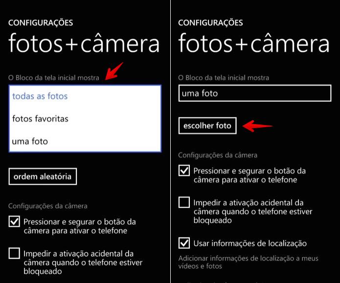 Selecione as fotos que deseja exibir na tela inicial (Foto: Reprodução/Helito Bijora)