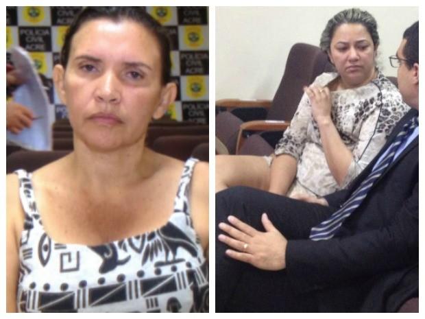Cícera Silva (à esquerda) e Rossandra Lima (à direita) são suspeita de vender casas populares, segundo a polícia  (Foto: Reprodução/Rede Amazônica Acre e Iryá Rodrigues/G1)