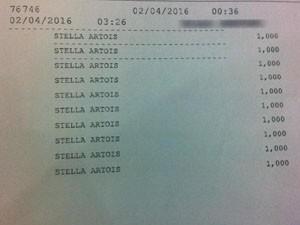 Comprovamente mostra o que foi comprado e horário de chegada e saída (Foto: Felipe Truda/G1)