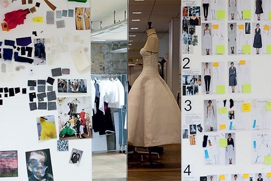 Uma das telas de Raf Simons no ateliê da Dior (Foto: Reprodução)