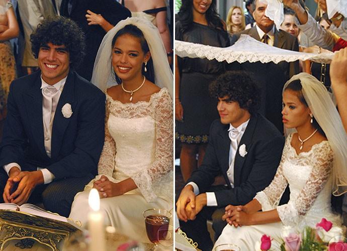 Bruno (Caio Castro) se converteu para casar com a muçulmana Samira (Thaís Botelho) (Foto: TV Globo)