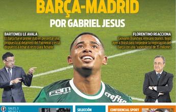 """Jornal espanhol fala em """"guerra"""" entre Barcelona e Real por Gabriel Jesus"""