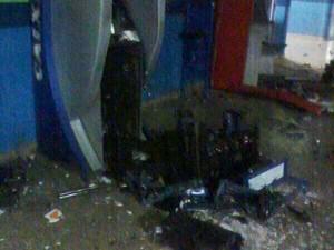 Explosão Caixa Eletronico Nova Serrana 9 de junho (Foto: Polícia Militar/Divulgação)