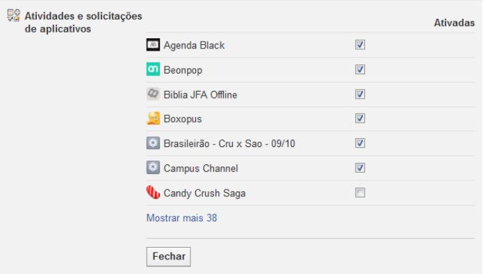 Ajustando as notificações de aplicativos do Facebook (Foto: Reprodução/Lívia Dâmaso)