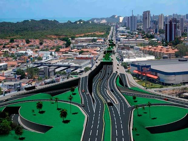 Maquete virtual mostra como ficará a Av. Engenheiro Roberto Freire (Foto: Reprodução)