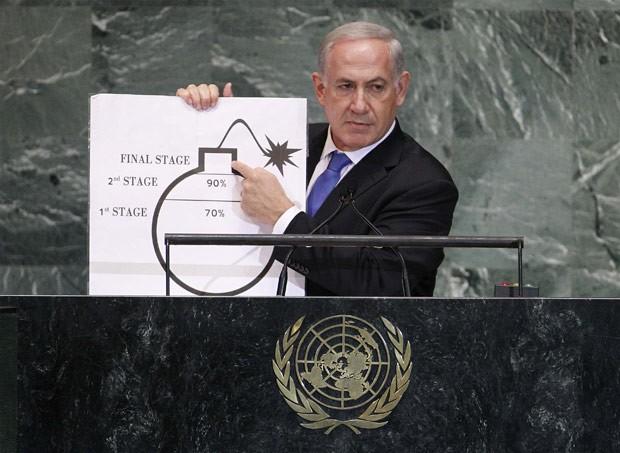 O primeiro-ministro de Israel, Benjamin Netanyahu, mostra 'gráfico' para ilustrar o risco de um Irã nuclear, em discurso nesta quinta-feira (27) na Assembleia Geral da ONU (Foto: Reuters)