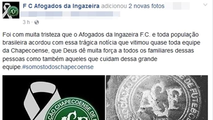 Afogados, Facebook, Chapecoense  (Foto: Reprodução/ Facebook)