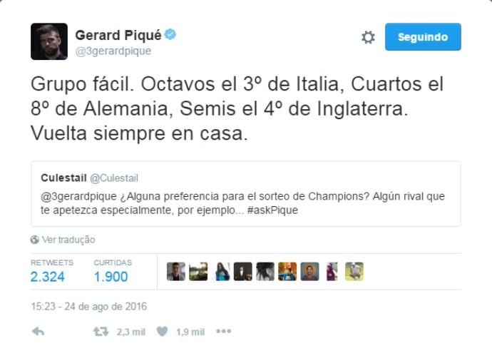 "BLOG: Antes de sorteio da Champions, Piqué ironiza Real no Twitter: ""Quero grupo fácil"""