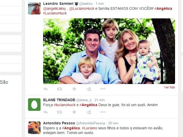 Internautas comentam pouso forçado de avião com Angélica e Luciano Huck (Foto: Reprodução/Twitter)
