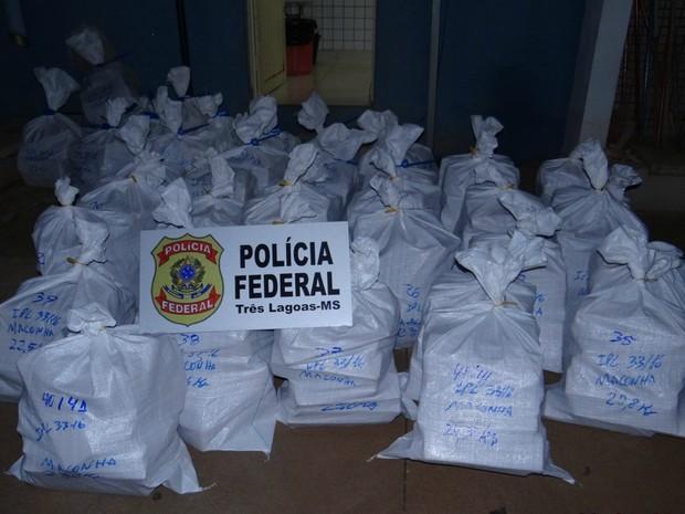 Tabletes de maconha foram colocados em sacos  (Foto: PF/ Divulgação)