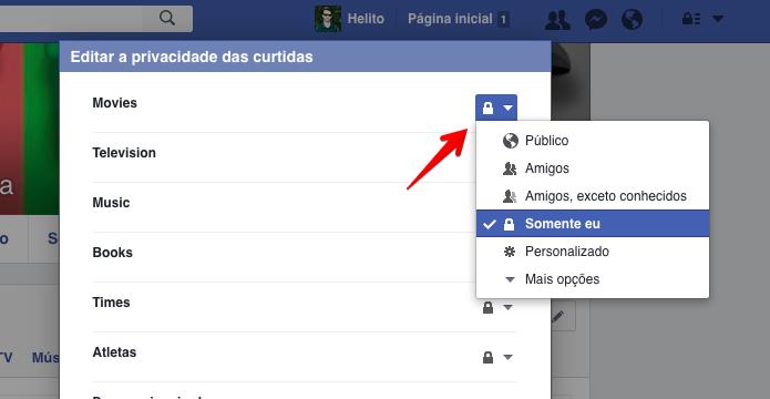 Ocultando as suas curtidas no Facebook (Foto: Reprodução/Helito Bijora)
