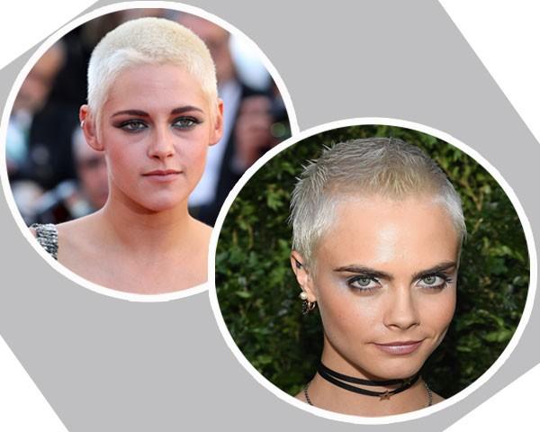 Kristen Stewart e Cara Delevingne aderiram ao cabelo raspado (Foto: Getty Images)