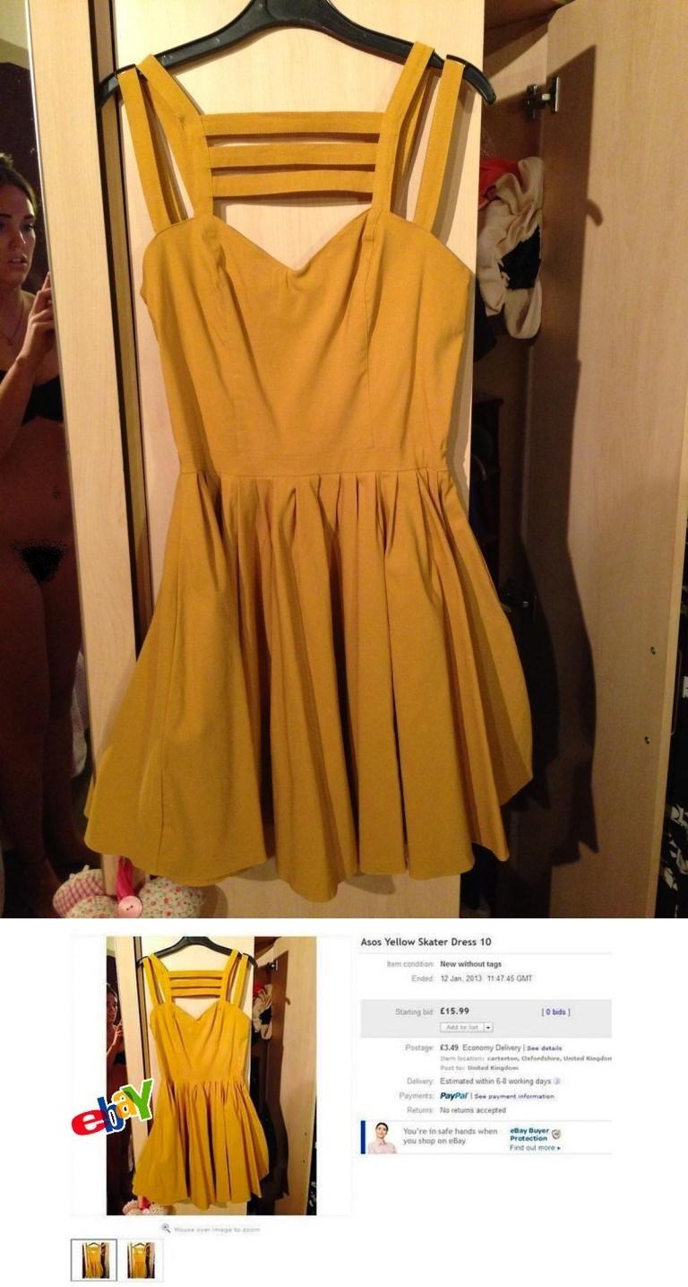 Ela anunciou um vestido amarelo no eBay. Ao ver a postagem, ficou vermelha