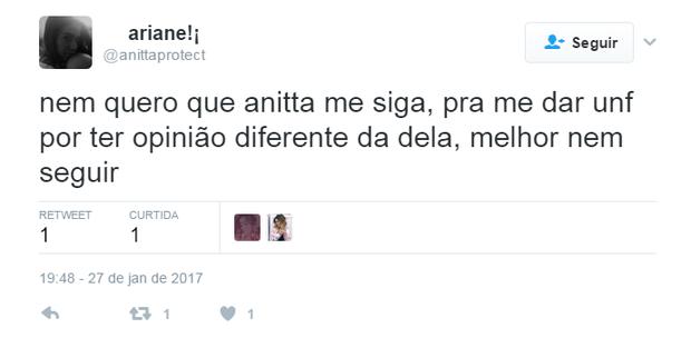 Anitta se incomoda com post (Foto: Reprodução/Twitter)