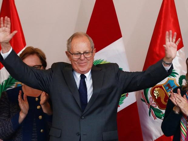 Kuczynski derrotou filha de Alberto Fujimori no segundo turno da votação (Foto: Mariana Bazo/Reuters)