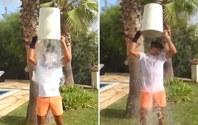 FRAME Rafael Nadal desafio do balde de gelo (Foto: Reprodução)