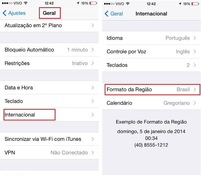 Configuração automática do Formato de Região do iOS (Foto: Aline Jesus/Reprodução)