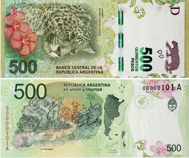 Argentina lança cédula de 500 pesos  (Foto: BCRA/G1)