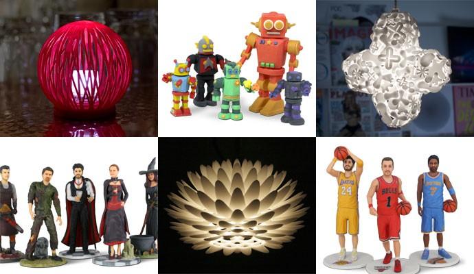 Objetivos fabricados pela impressora 3D Cube, da 3D Systems, e expostos no site Cubify.